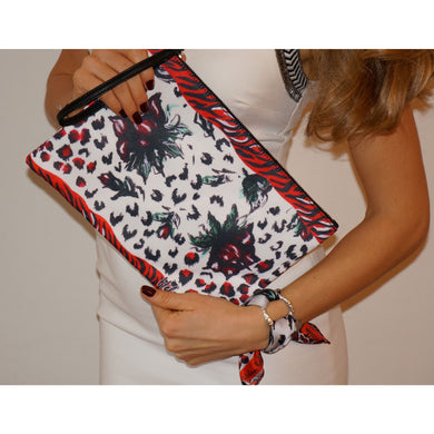 Red rose clutch bag & silk bracelet set - Nail-itious