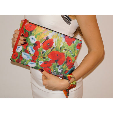 Poppies clutch bag & silk bracelet set - Nail-itious