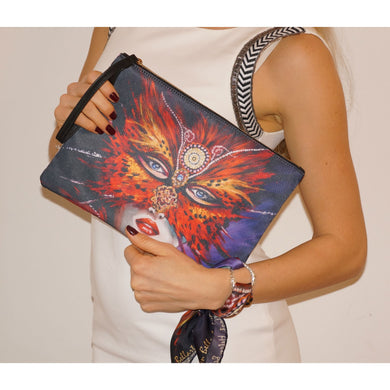 Venetian mask clutch bag & silk bracelet set - Nail-itious