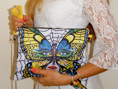 Caught Butterfly Clutch Bag & Silk Bracelet Set