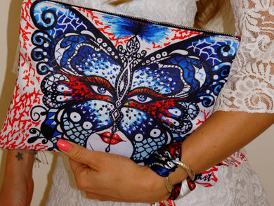 Coral Butterfly Clutch Bag