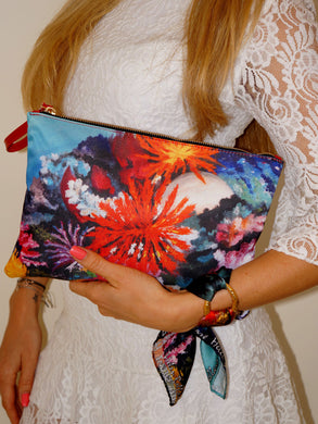 Colorful Corals Clutch Bag & Silk Bracelet Set