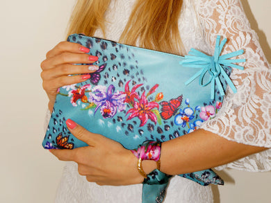 Blue Spring Clutch Bag & Silk Bracelet