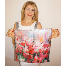 Blooming cherry tree silk scarf 45x45 - Nail-itious