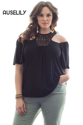 AUSELILY Black Crochet Cold Shoulder Plus Size Top
