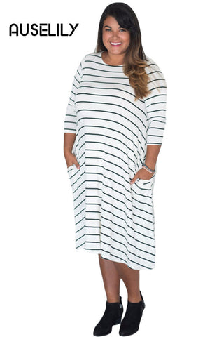 AUSELILY White Green 3/4 Sleeves Stripes Loose Fit Plus Dress
