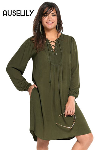 AUSELILY Olive Crossed Straps Metal Eyelets Flare Plus Dress