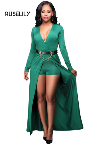 AUSELILY Green Wrap V Neck Belted Long Sleeve Romper Dress