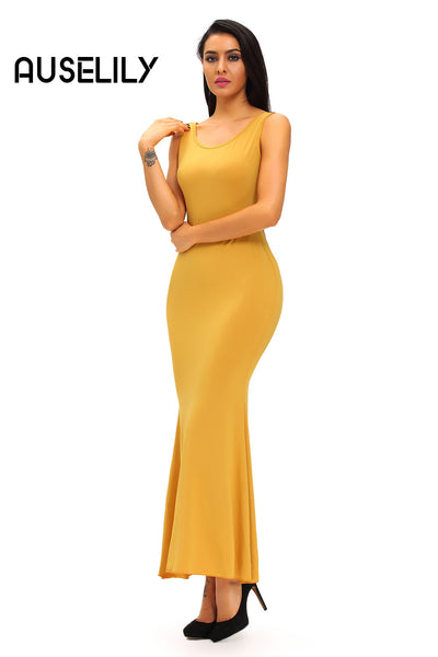 AUSELILY Crochet Back Detail Sleeveless Yellow Maxi Dress