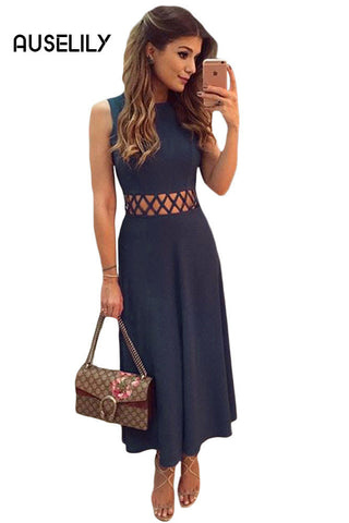 AUSELILY Navy Blue Caged Waist Fit and Flare Maxi Dress