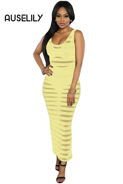 AUSELILY Yellow Sheer Stripes Sleeveless Maxi Dress