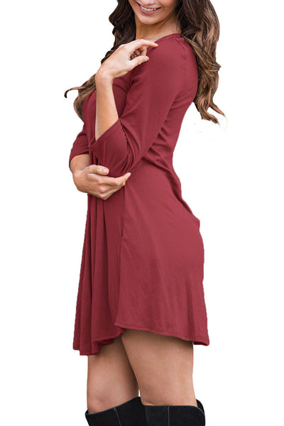 AUSELILY Wine Best Cage Front 3/4 Sleeves Blouse Dress