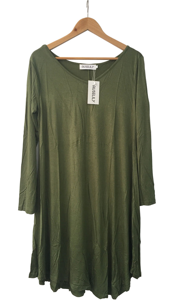 450fefb5b1e6 AUSELILY Women s Long Sleeve Casual Loose T-Shirt Dress – auselily