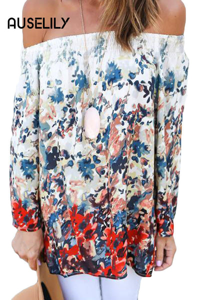 AUSELILY Reddish Floral Print Off Shoulder Chiffon Blouse