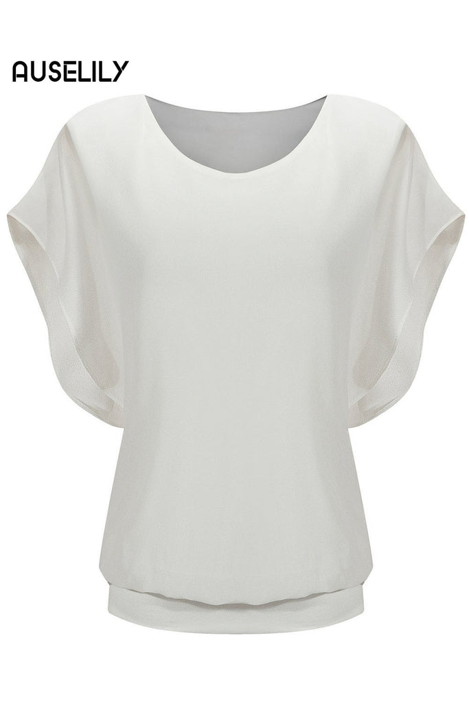 AUSELILY White Loose Casual Short Sleeve Chiffon Top T-shirt Blouse