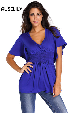 AUSELILY Blue V-Neck Short Batwing Sleeve High Elastic Waist Blouse