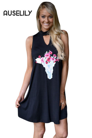 AUSELILY Floral Keyhole Front Casual Tank Dress