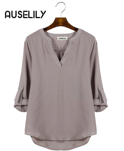 AUSELILY Women's V Neck Cuffed Sleeve Blouse