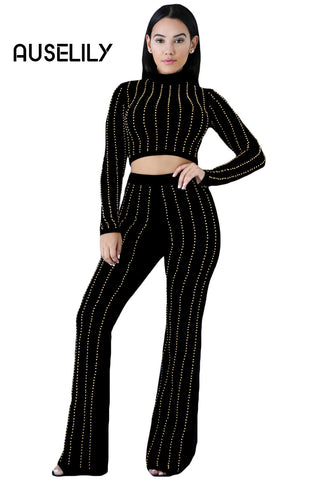 AUSELILY Glittering Rhinestone Accent Black 2pcs Pants Set