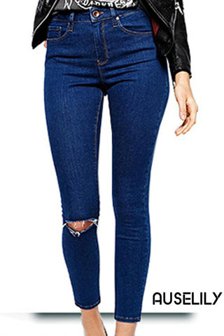 AUSELILY Dark Blue Womens Sexy Denim Pants Ripped Jeans