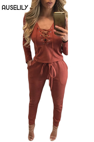 AUSELILY Orange Grommet Lace Up Long Sleeve Jumpsuit