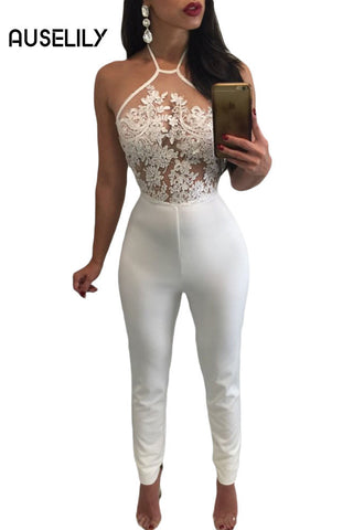 AUSELILY White Sheer Lace Top Halter Party jumpsuit