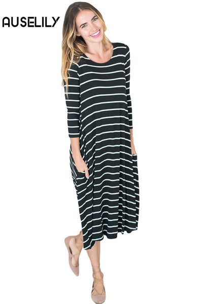 AUSELILY Black White 3/4 Sleeves Stripes Loose Fit Dress