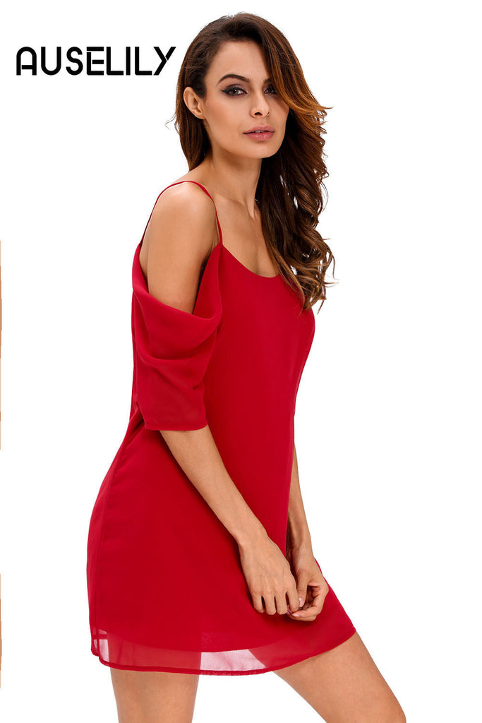 AUSELILY Burgundy Off Shoulder Chiffon Mini Dress