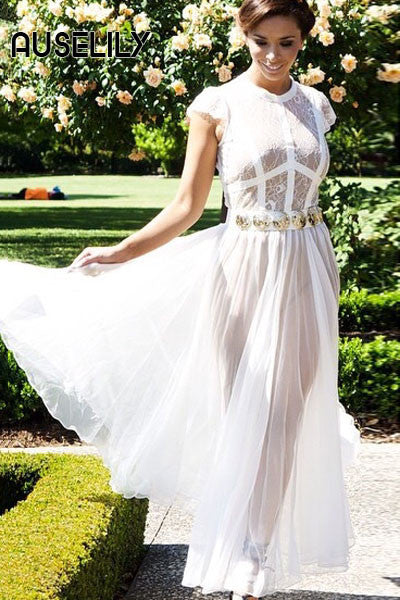 AUSELILY White Sheer Lace Chiffon Evening Dress