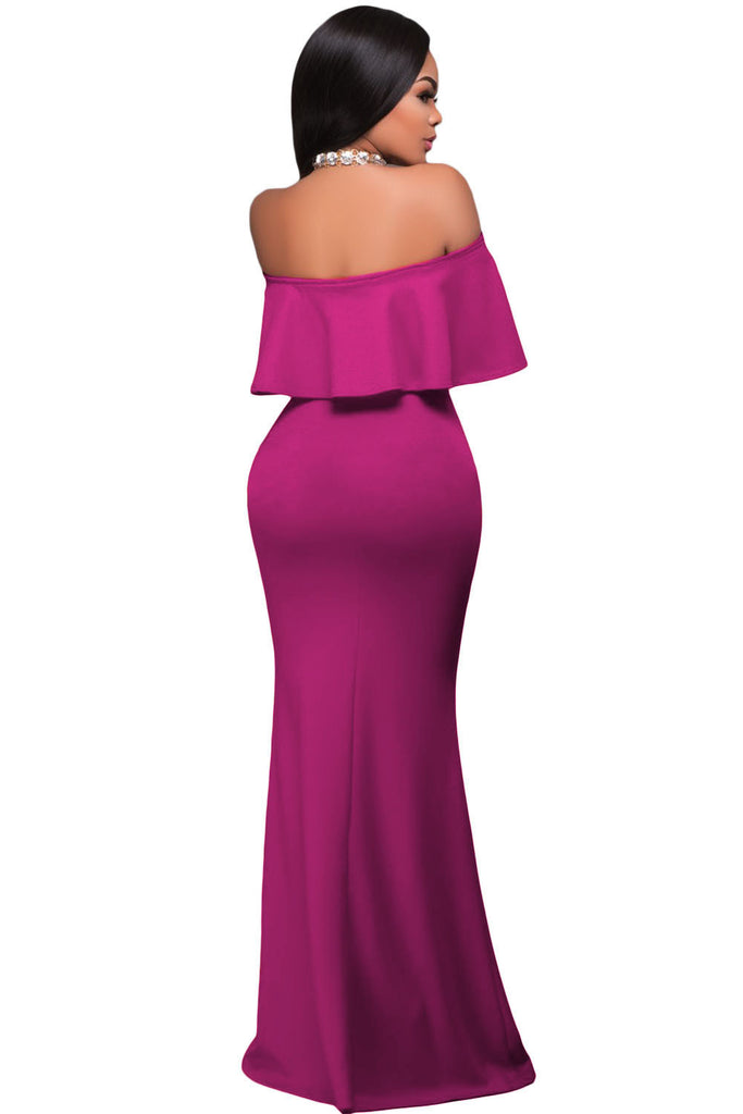 eac79865e214 AUSELILY Rosy Ruffle Off Shoulder Maxi Party Dress – auselily