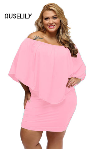 AUSELILY Plus Size Multiple Dressing Layered Pink Mini Dress