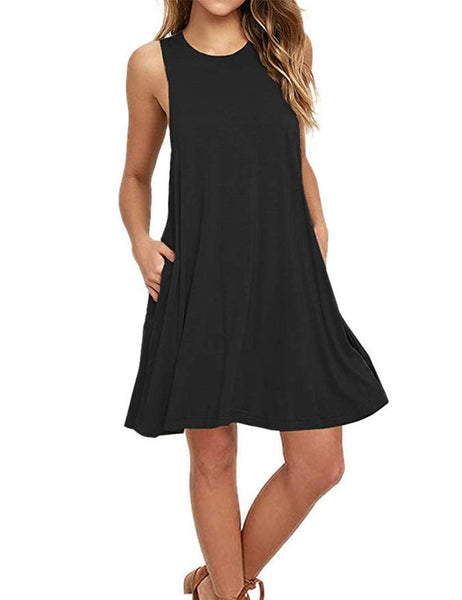 AUSELILY Women's Sleeveless Pockets Casual Swing T-Shirt Dresses Tank Dresses Black
