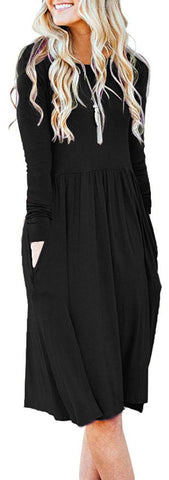 AUSELILY Women's Long Sleeve Empire Waist Pleated Loose Swing Casual Flare Dress with Pockets (XL,Black)