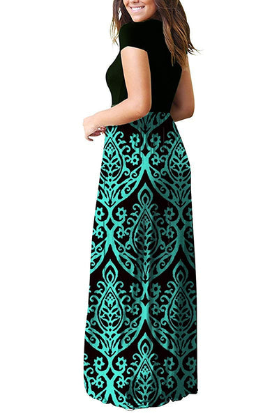 AUSELILY Women Short Sleeve Loose Plain Casual Long Maxi Dresses with Pockets (M, Black Green)