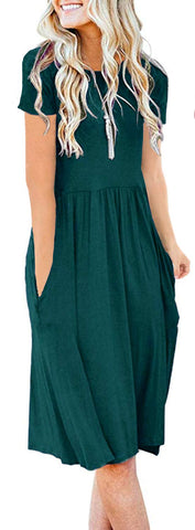 AUSELILY Women's Short Sleeve Pockets Empire Waist Pleated Loose Swing Casual Flare Dress (M, Dark Green)