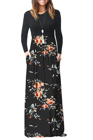 AUSELILY Women Long Sleeve Loose Plain Maxi Dresses Casual Long Dresses with Pockets (M, Rose Black)
