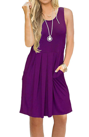 AUSELILY Women's Sleeveless Pleated Loose Swing Casual Dress with Pockets Knee Length (M, 01Purple)