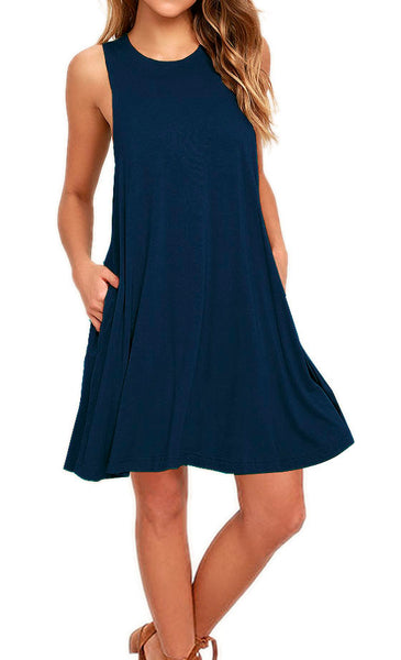 AUSELILY Women's Casual Plain Simple T-shirt Pockets Loose Dress