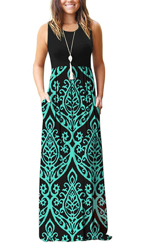 AUSELILY Women Sleeveless Loose Plain Casual Long Maxi Dresses with Pockets (L, Black Green)