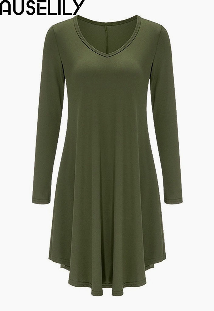 AUSELILY Women s Long Sleeve Casual Loose T-Shirt Dress – auselily 8f5100a42c
