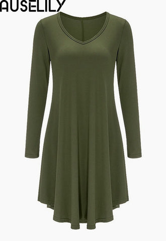 AUSELILY Women's Long Sleeve Casual Loose T-Shirt Dress