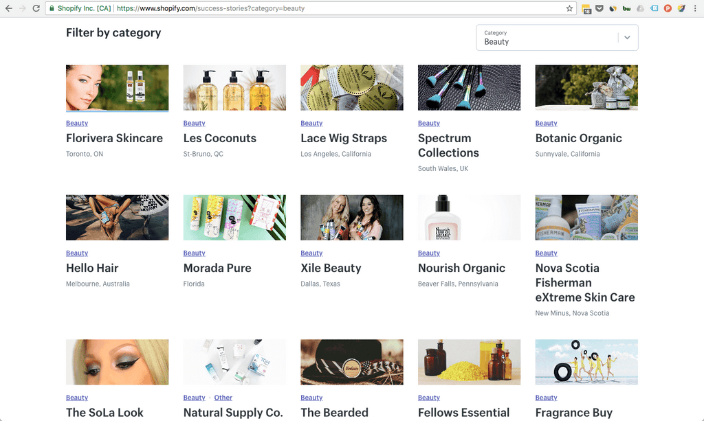 Shopify success stories page