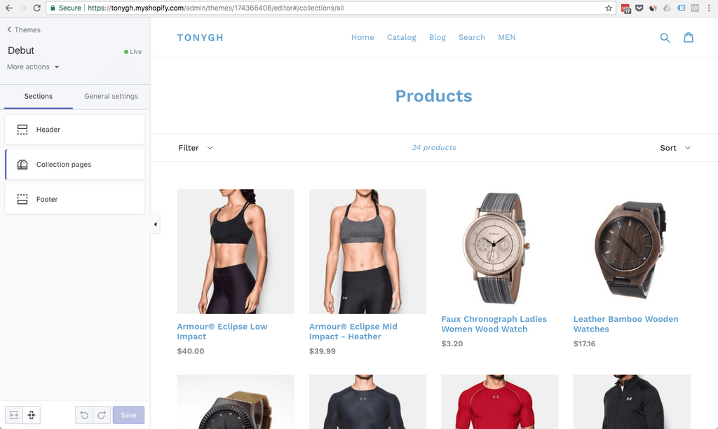 Debut Shopify theme customizer