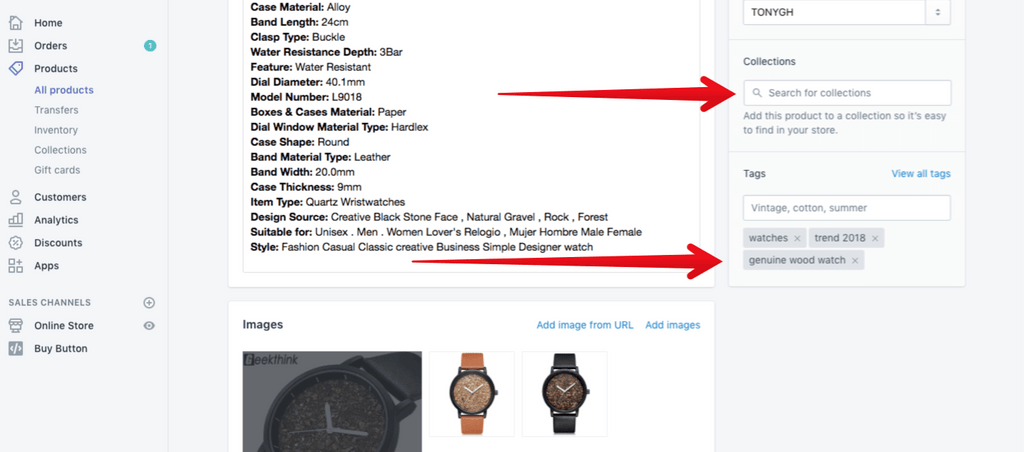 optimize product collection tags