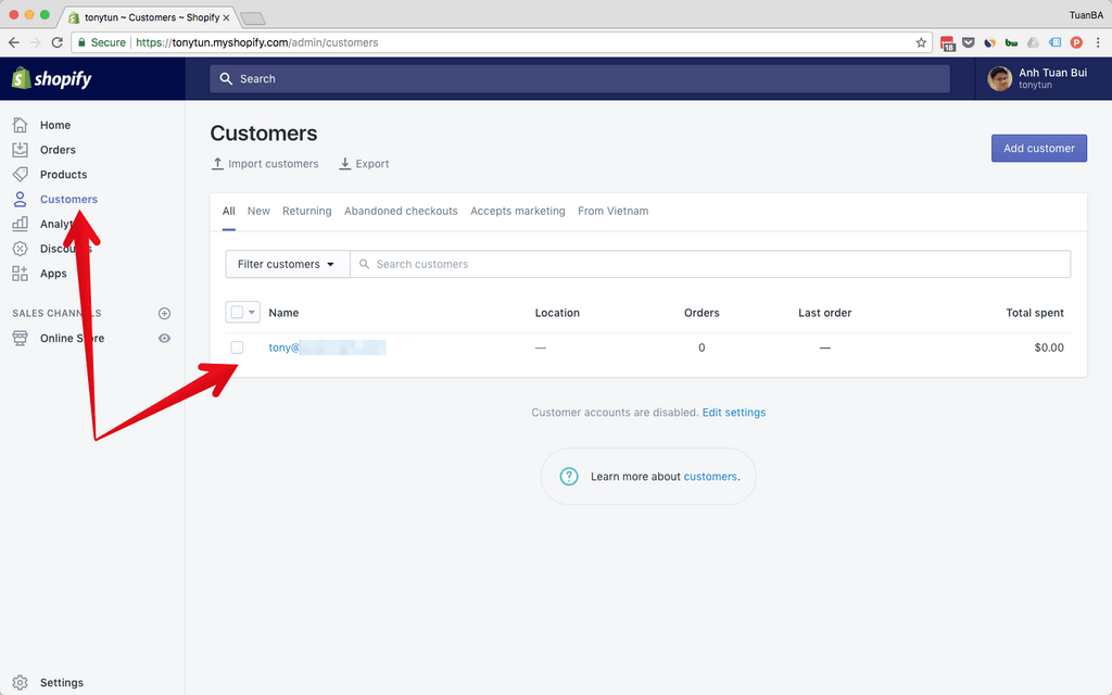 Customers Shopify setting