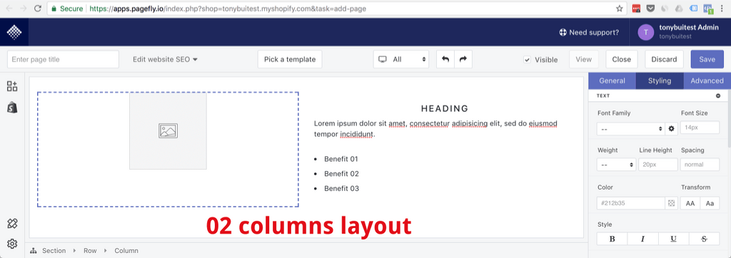 two columns layout page section