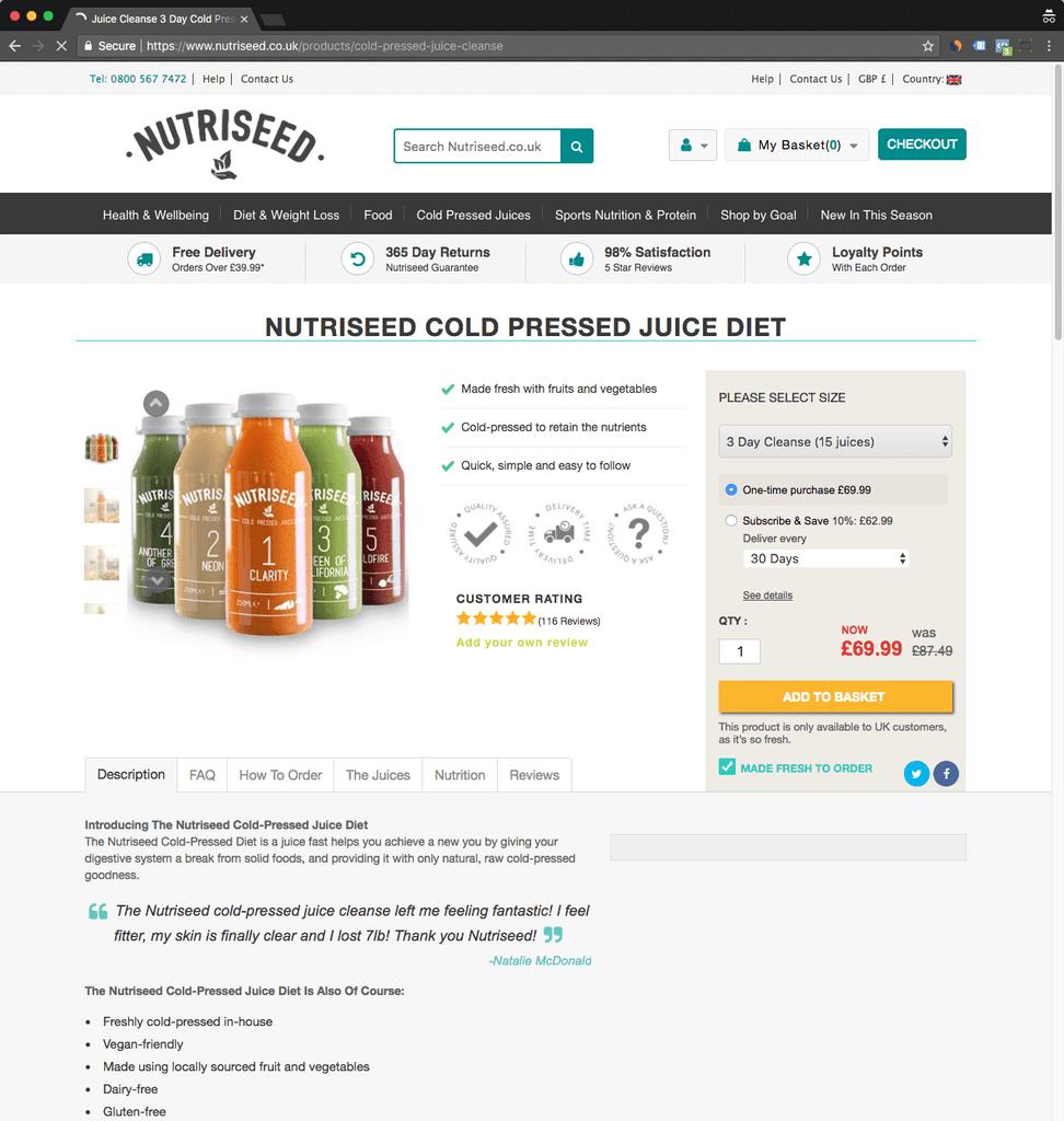 nutriseed product page