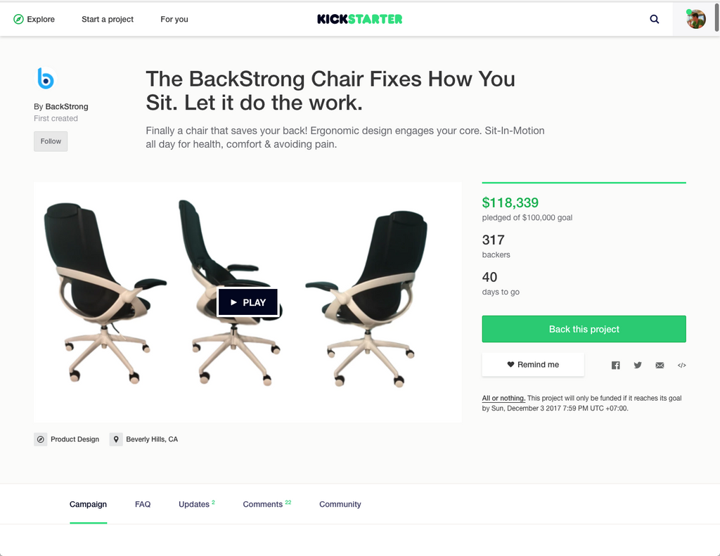 The BackStrong Chair Fixes How You Sit.