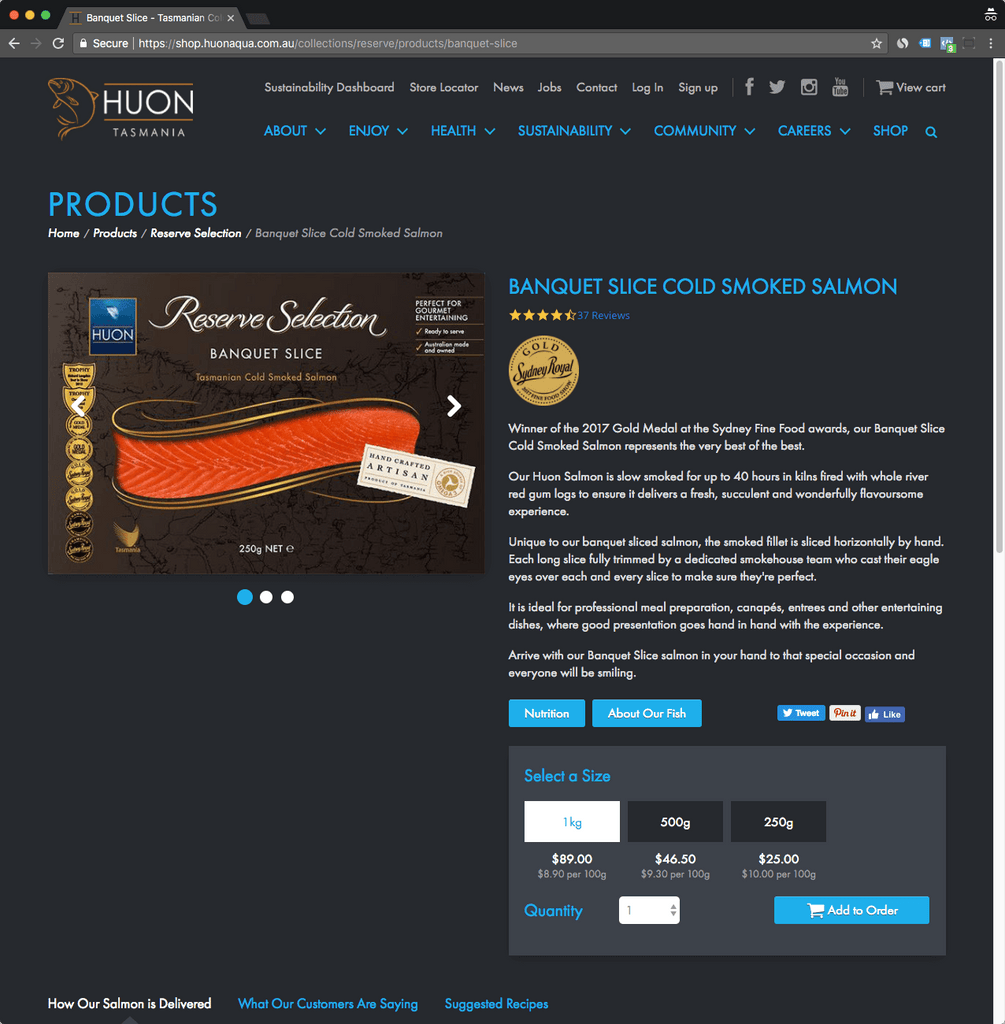 huonaqua shop product page