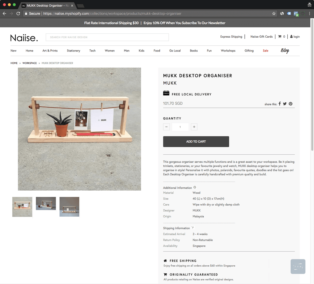 naiise product page